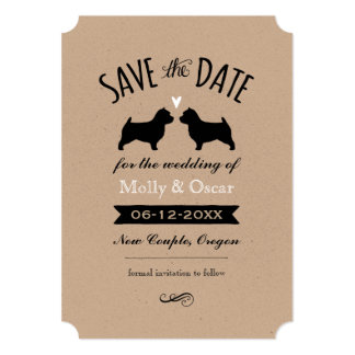 Norwich Terrier Silhouettes Wedding Save the Date Card