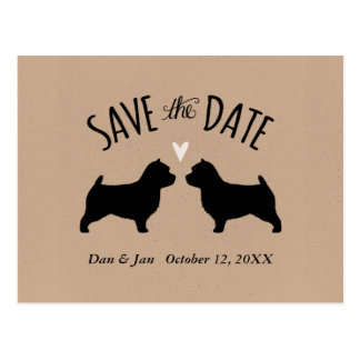 Norwich Terrier Silhouettes Wedding Save the Date Postcard