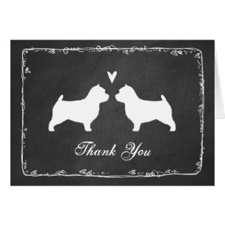 Norwich Terrier Silhouettes Wedding Thank You Card