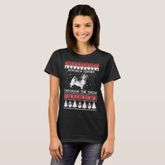Norwich Terrier Through The Snow T-shirt
