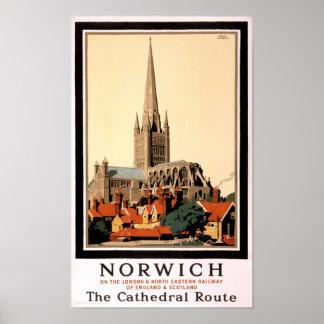 Norwich Vintage Travel Poster Restored