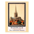 Norwich Vintage Travel Poster Restored Postcard