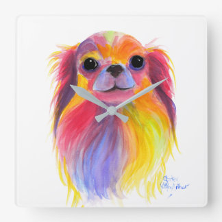 Nosey Dog Chihuahua ' TiLLY ToTS ' by Shirley Mac Square Wall Clock