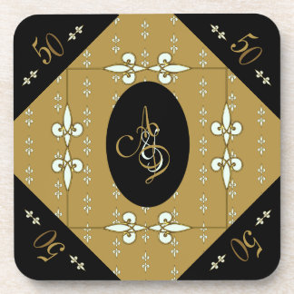 Nostalgic Art Nouveau Monogram 50th Anniversary Coaster