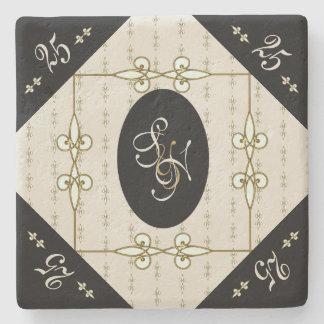 Nostalgic Art Nouveau Monogram Silver Anniversary Stone Coaster
