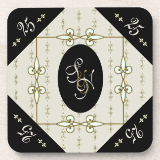 Nostalgic Art Nouveau Monogram Silver Wedding Coaster