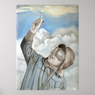 Nostalgic aviator oil painting poster