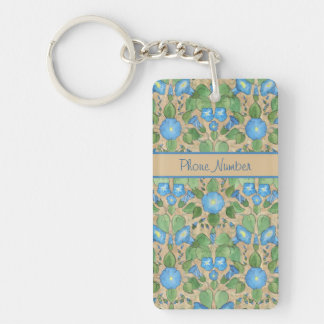 Nostalgic Blue Morning Glory Oblong Keychain