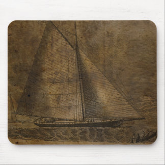 Nostalgic Boat Sketch Mouse Pads