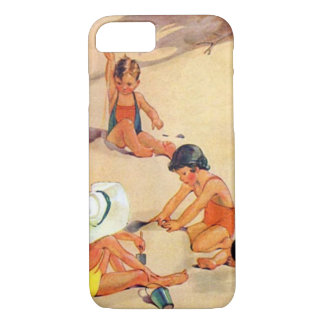 Nostalgic Children Playing in the Sand iPhone 7 Case
