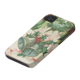 Nostalgic Christmas Bells and Holly iPhone 4 Cases