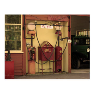 Nostalgic Gas Station Postcard