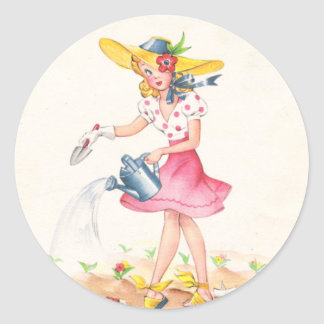 Nostalgic Girl with Watering Can Classic Round Sticker