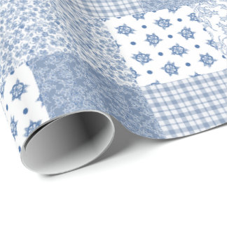Nostalgic Indigo Faux Patchwork Wrapping Paper
