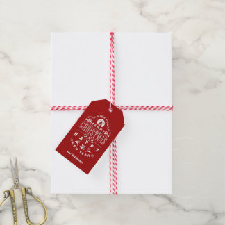Nostalgic Merry Christmas RED typography Gift Tags