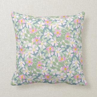 Nostalgic Pink Dog Roses Floral on Deep Blue Throw Cushion