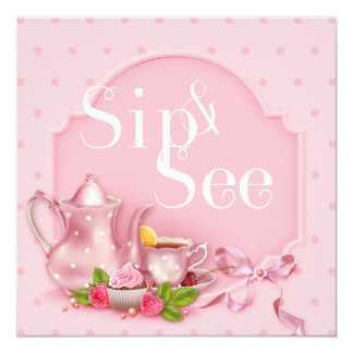 Nostalgic Pink Tea Time Sip and See Baby Shower Card