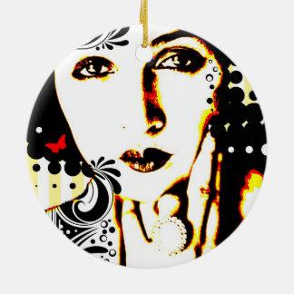 Nostalgic Seduction - Subjected to Ink Ceramic Ornament
