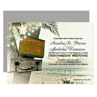 Nostalgic String Lights Destination Beach Wedding Card