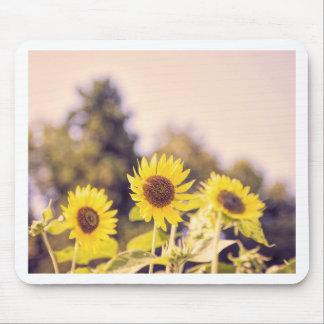 Nostalgic sunflower field mouse pad