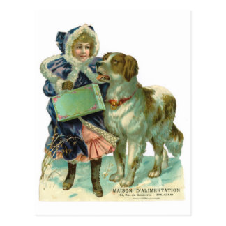 Nostalgic Victorian style girl with dog in winter Postcard