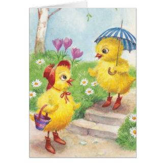 Nostalgic vintage style Easter chicks Card