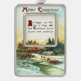 Nostalgic Winter Scene with Christmas Greeting Silver Plated Framed Ornament