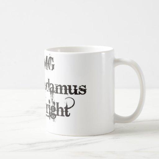 Nostramadus mug with cool grunge font