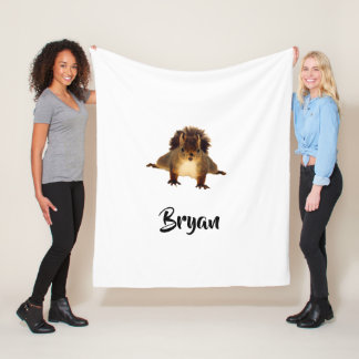 Nosy cute brown squirrel in snow add a name fleece blanket