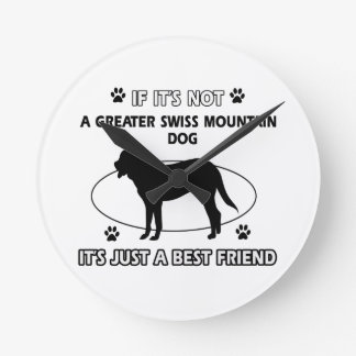 Not a greater swiss mountain dog round wall clocks