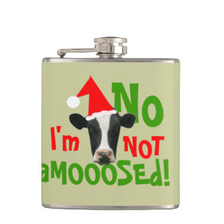 Not a Moose Funny Christmas Cow Hip Flask