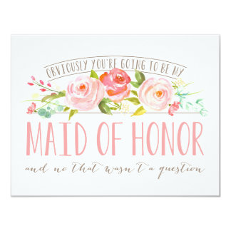 Not a Question, Maid Of Honor Rose Garden 11 Cm X 14 Cm Invitation Card