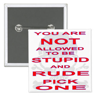 NOT Allowed To Be Stupid AND Rude Pick One 15 Cm Square Badge