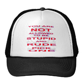 NOT Allowed To Be Stupid AND Rude Pick One Cap