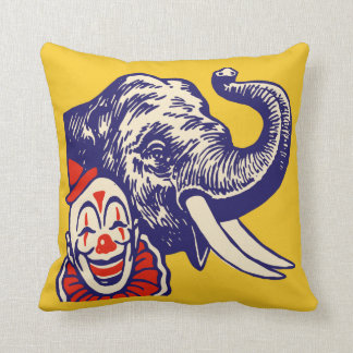 Not At All Frightening Circus Clown and Elephant Cushion