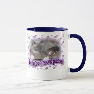 Not before noon (in purple) mug