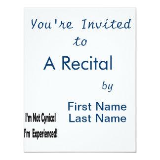 not cynical black original text 11 cm x 14 cm invitation card