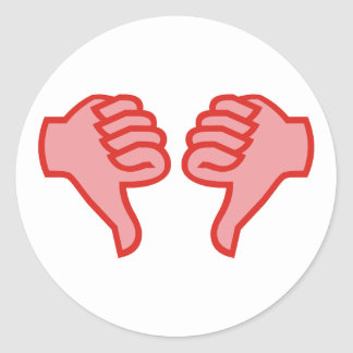 not emergency OK thumb down thumbs down Classic Round Sticker
