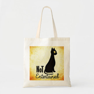 Not entertained sassy black cat tote bag