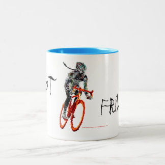 Not Frilly.  Female Cyclist & Flames Two-Tone Coffee Mug