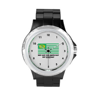 Not Just For Earth Day But Everyday (Ecology Flag) Wrist Watches