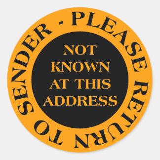Not Known at this Address - II Orange Round Sticker
