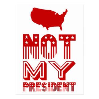 Not My President America Red Postcard