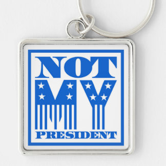 Not My President Stars and Stripes Blue Silver-Colored Square Key Ring