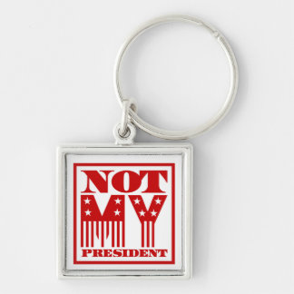 Not My President Stars and Stripes Red Key Ring