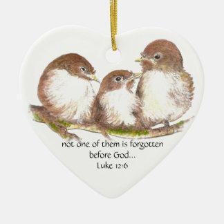 Not one forgotten before God, Scripture, Custom Double-Sided Heart Ceramic Christmas Ornament