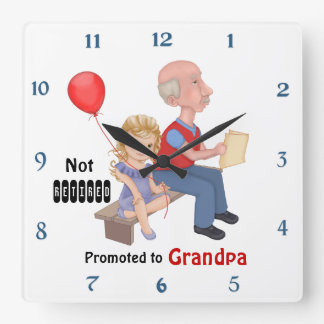 Not Retired Promoted Grandpa Square Wall Clock
