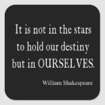 Not Stars Destiny But Ourselves Shakespeare Quote Square Stickers