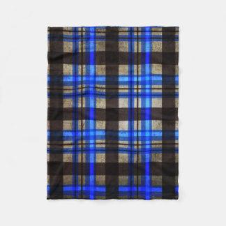 Not Your Normal Plaid - Urban Retro Blue Fleece Blanket