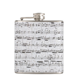 Nota Bene (black and white) Hip Flask